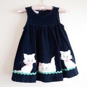 Dark Blue Corduroy Kitty Cat Dress Size 4T